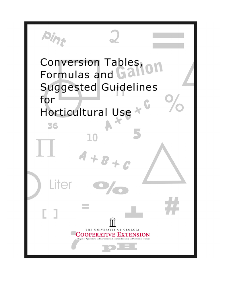 Conversion Tables, Formulas and Suggested Guidelines for
