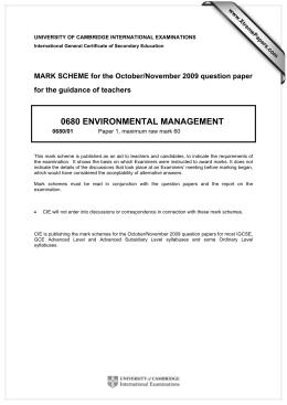 Scheme Of Work Cambridge IGCSE Environmental Management
