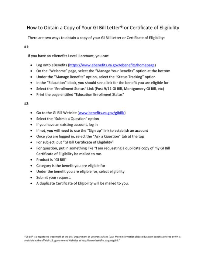 Va Post 911 Gi Bill Letter Of Eligibility | Textpoems.org