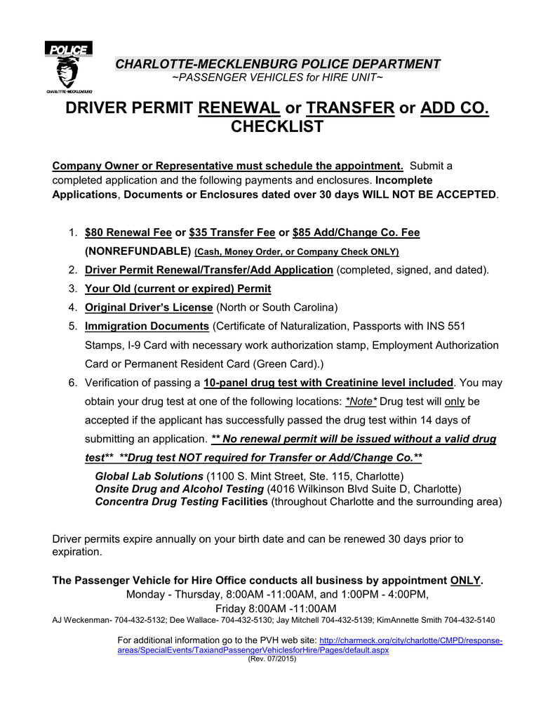 DRIVER PERMIT RENEWAL Or TRANSFER Or ADD CO CHECKLIST CHARLOTTE