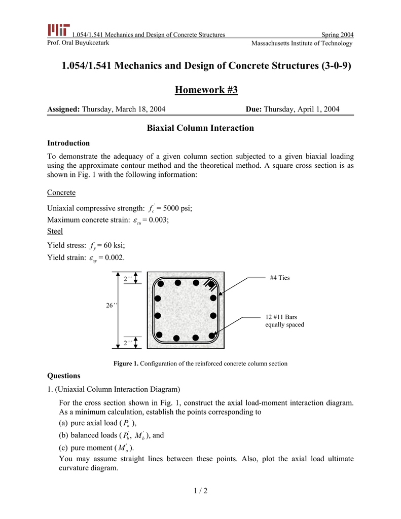 hight resolution of 1 054 1 541 mechanics and design of concrete structures prof oral buyukozturk spring 2004 homework 3 massachusetts institute of technology 1 054 1 541