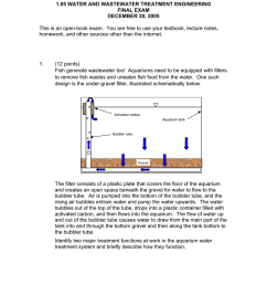 1 85 water and wastewater treatment engineering final exam december 20 2005 [ 791 x 1024 Pixel ]