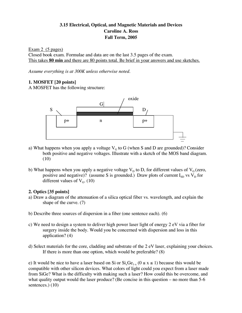 hight resolution of 3 15 electrical optical and magnetic materials and devices caroline a ross fall term 2005 exam 2 5 pages closed book exam