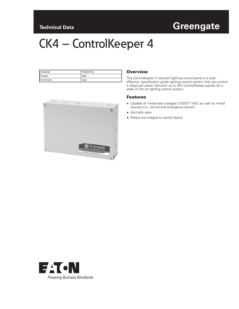 medium resolution of greengate technical data ck4 controlkeeper 4 catalog prepared by project date comments type overview the controlkeeper 4 network lighting control panel