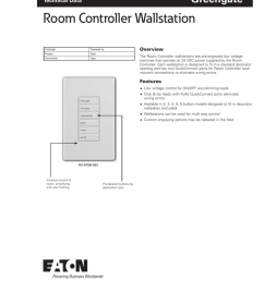 project date comments type overview the room controller wallstations are pre engraved low voltage switches that operate on 24 vdc power supplied by the  [ 791 x 1024 Pixel ]