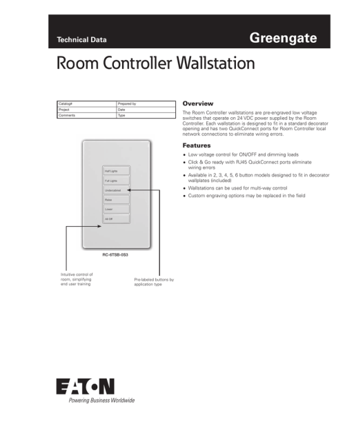 small resolution of  project date comments type overview the room controller wallstations are pre engraved low voltage switches that operate on 24 vdc power supplied by the