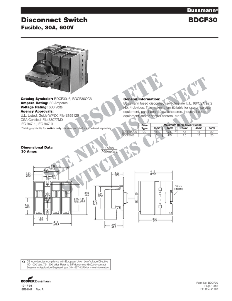 Disconnect Switch BDCF30 Fusible, 30A, 600V Bussmann