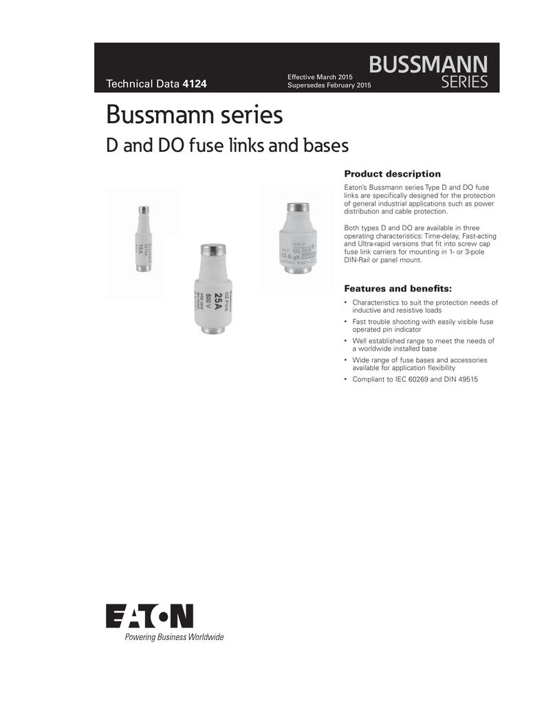 Bussmann series BUSSMANN D and DO fuse links and bases SERIES