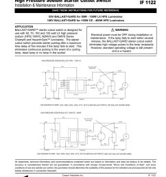 ballast gard high pressure sodium starter cutout switch if 1122 installation maintenance information [ 791 x 1024 Pixel ]