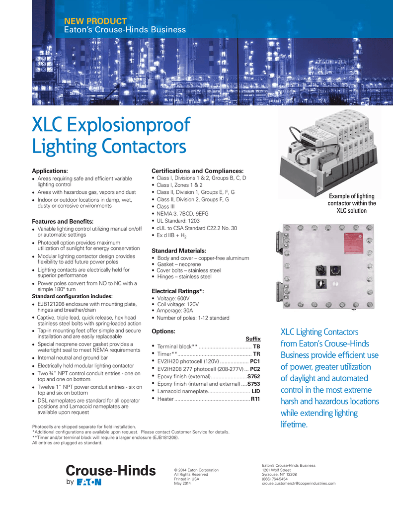hight resolution of xlc explosionproof lighting contactors new product eaton s crouse hinds business