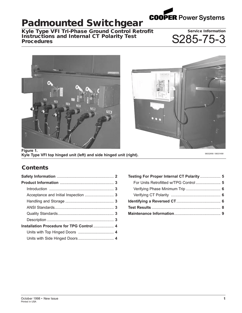 hight resolution of s285 75 3 padmounted switchgear contents kyle type vfi tri phase ground control