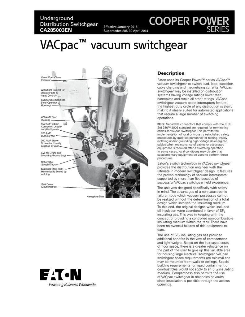 VACpac vacuum switchgear COOPER POWER