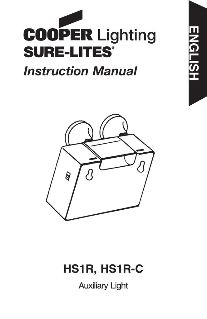 Instruction Manual ENGLISH HS1R, HS1R-C Auxiliary Light