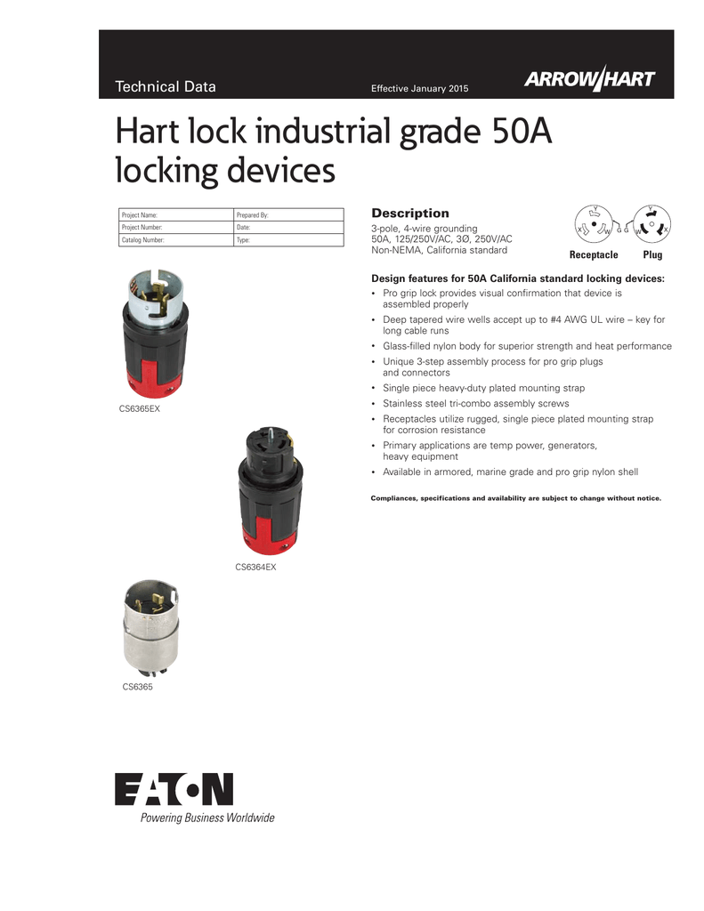 Hart lock industrial grade 50A locking devices Technical