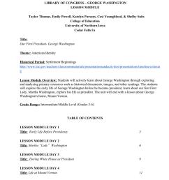 LIBRARY OF CONGRESS – GEORGE WASHINGTON LESSON MODULE Taylor Thomas [ 1024 x 791 Pixel ]