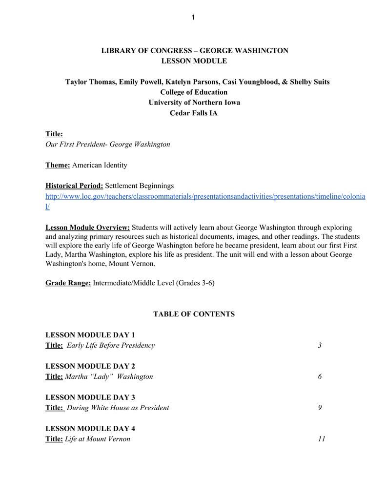 medium resolution of LIBRARY OF CONGRESS – GEORGE WASHINGTON LESSON MODULE Taylor Thomas