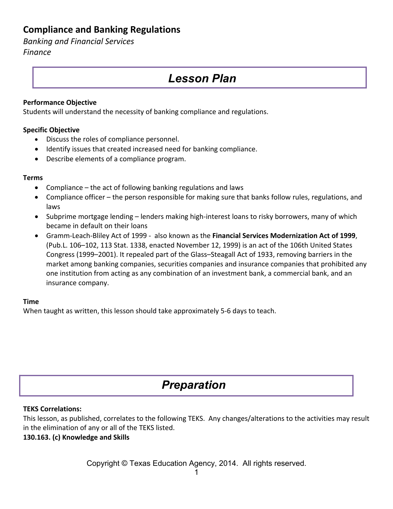 hight resolution of lesson plan compliance and banking regulations banking and financial services finance