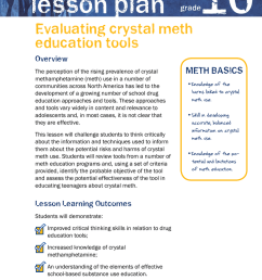 10 lesson plan Evaluating crystal meth education tools [ 1024 x 791 Pixel ]