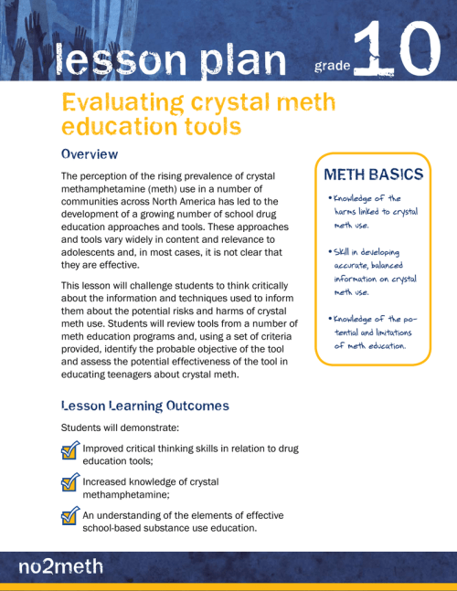 small resolution of 10 lesson plan Evaluating crystal meth education tools