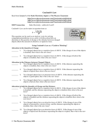 Coulombs Law Worksheet Photos - Leafsea