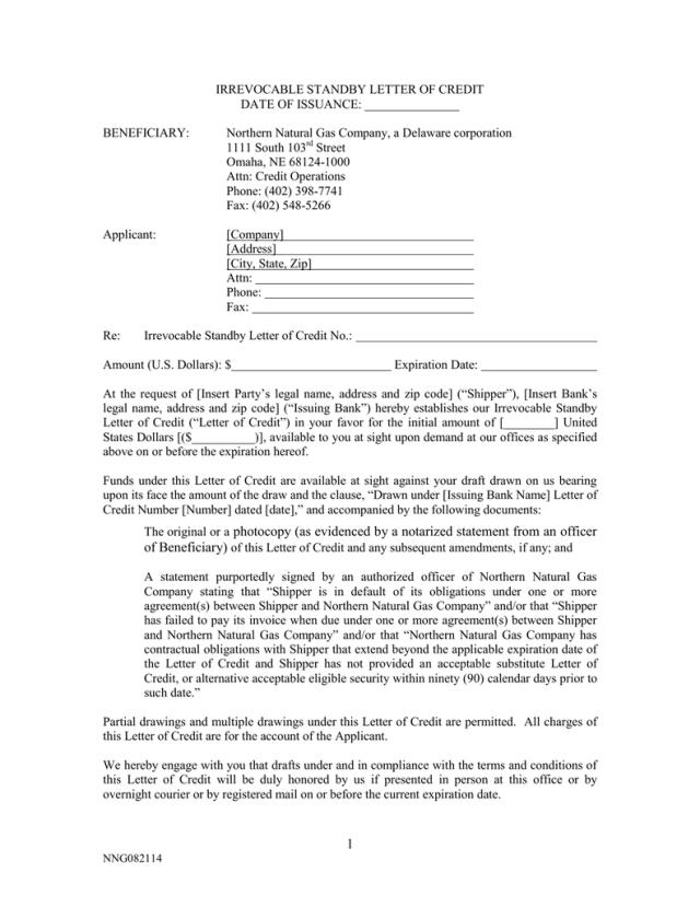 Irrevocable Standby Letter Of Credit