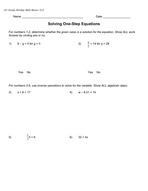 small resolution of Solving One-Step Equations