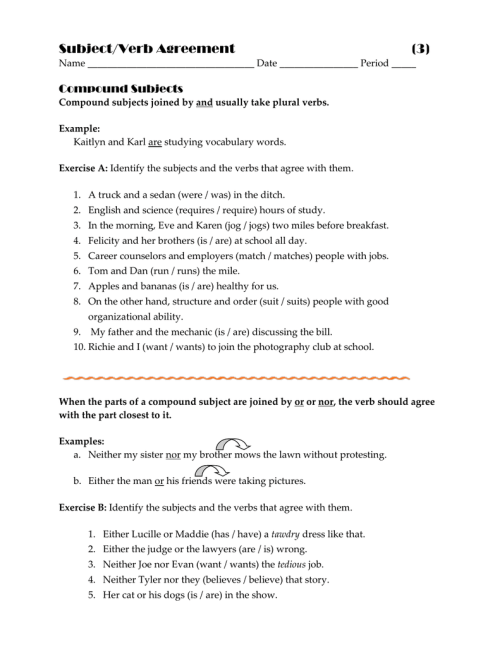 small resolution of Subject/Verb Agreement (3) Compound Subjects
