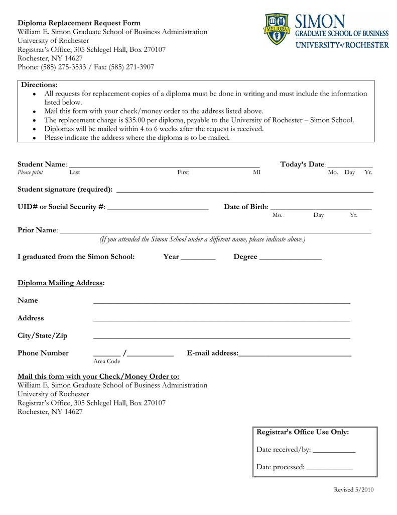Replacement Check Request Form