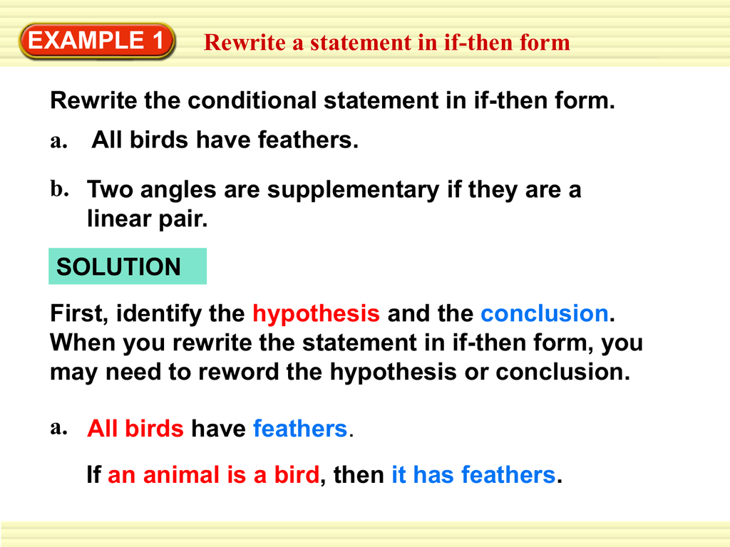 Example 1 Rewrite A Statement In If Then Form All Birds