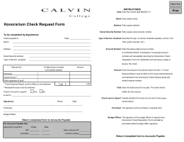 Honorarium Check Request Form E-mail @students.calvin.edu / INSTRUCTIONS