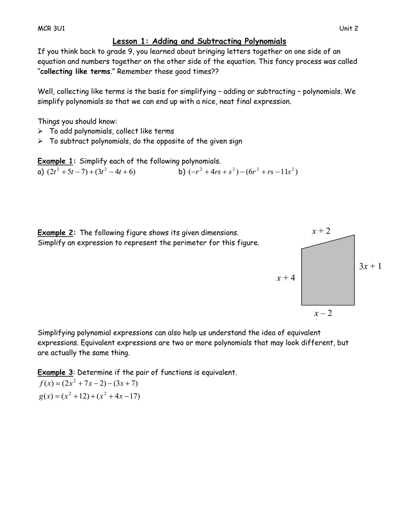 medium resolution of Lesson 1: Adding and Subtracting Polynomials