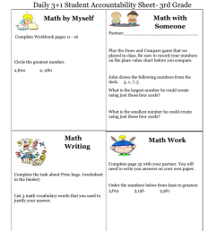 Name: August 17 Daily 3+1 Student Accountability Sheet- 3rd Grade [ 1024 x 791 Pixel ]