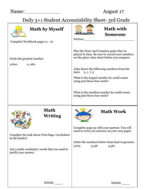 small resolution of Name: August 17 Daily 3+1 Student Accountability Sheet- 3rd Grade