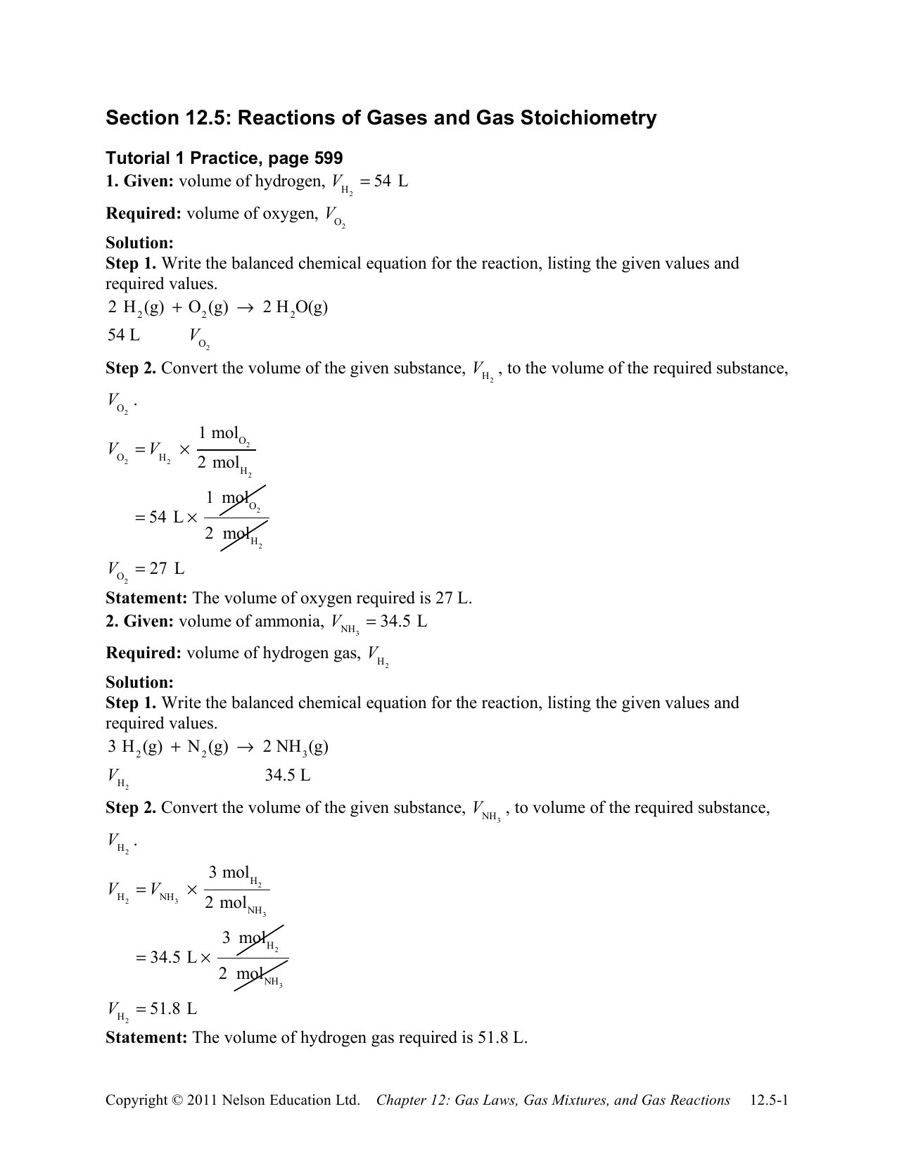 Section 12 5 Reactions Of Gases And Gas Stoichiometry