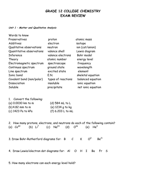 small resolution of GRADE 12 COLLEGE CHEMISTRY EXAM REVIEW