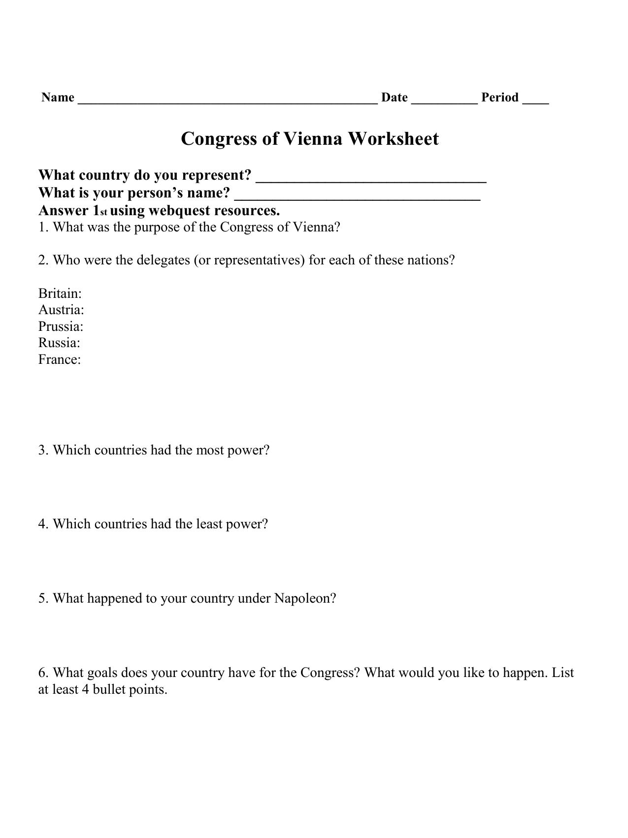 Congress Of Vienna Worksheet