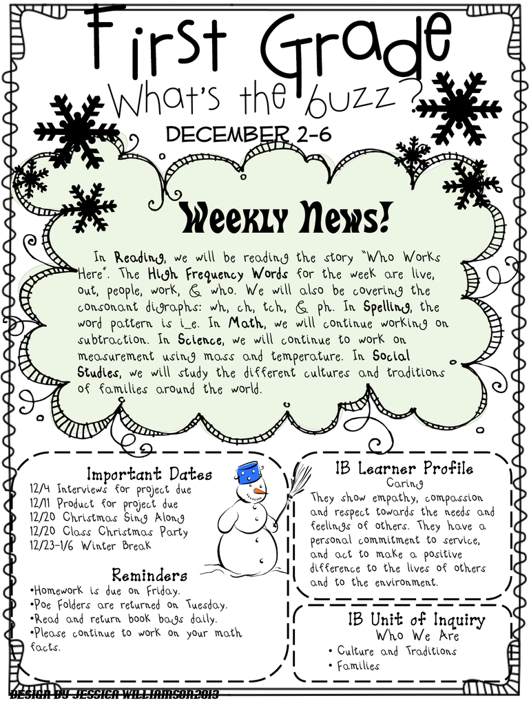 hight resolution of First Grade What's the buzz? Weekly News! December 2-6