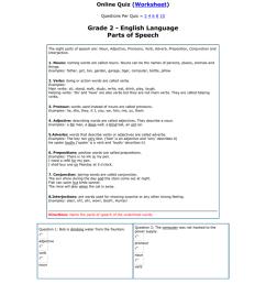 Grade 2 - English Language Parts of Speech ( ) [ 1024 x 791 Pixel ]
