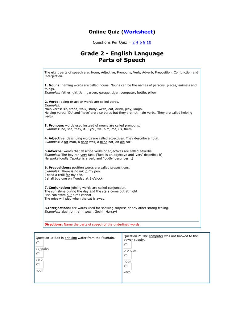 hight resolution of Grade 2 - English Language Parts of Speech ( )