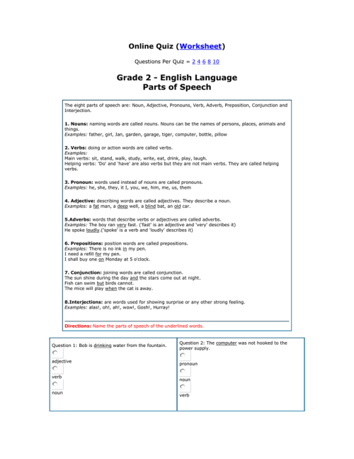 small resolution of Grade 2 - English Language Parts of Speech ( )