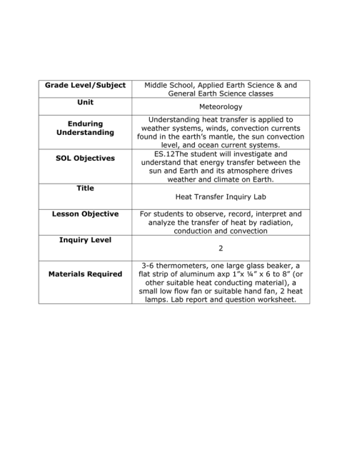 small resolution of Heat Transfer Worksheet Middle School - Nidecmege