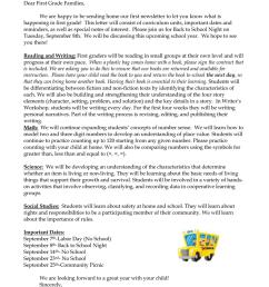 First Grade September Newsletter [ 1024 x 791 Pixel ]