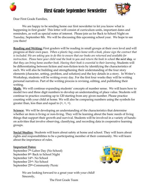 small resolution of First Grade September Newsletter