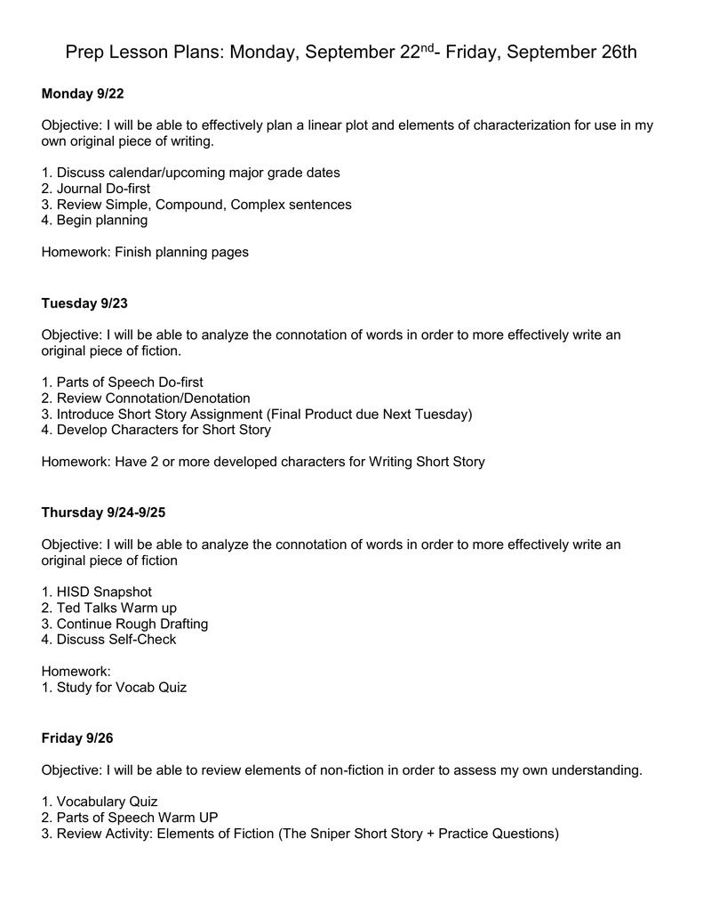medium resolution of Prep Week 5 Lesson Plan