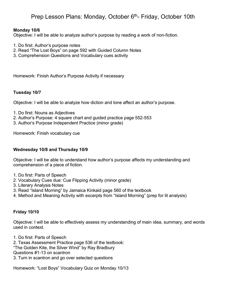 hight resolution of Week 7 Lesson Plans Prep