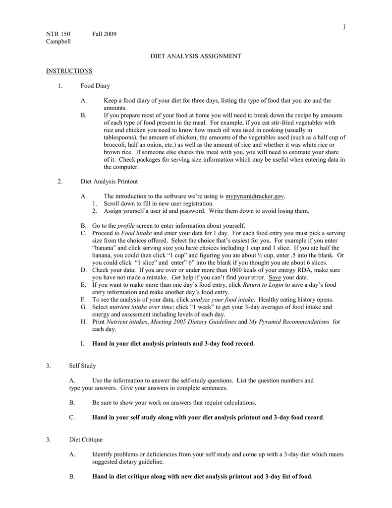 hight resolution of Nutrition Diet Project worksheet