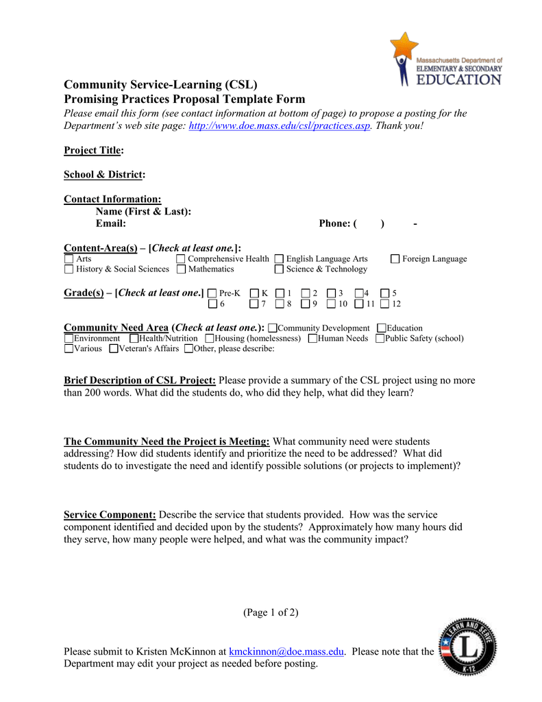 Community Service-Learning (Csl) Promising Practices Proposal Template Form