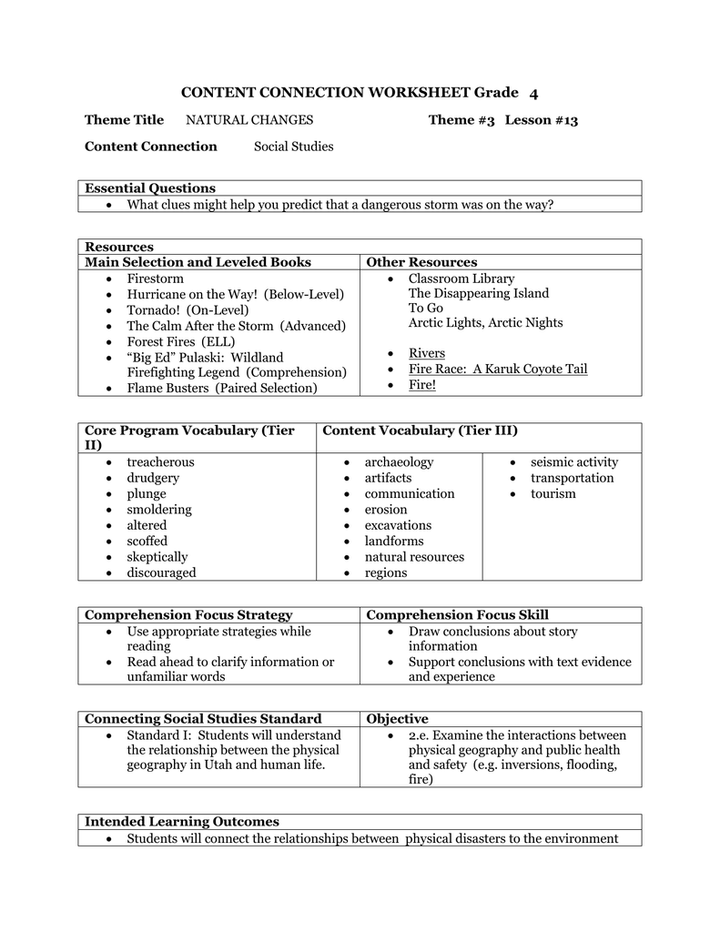 hight resolution of CONTENT CONNECTION WORKSHEET Grade 4