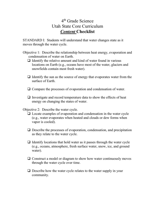 small resolution of 4 Grade Science Utah State Core Curriculum Content