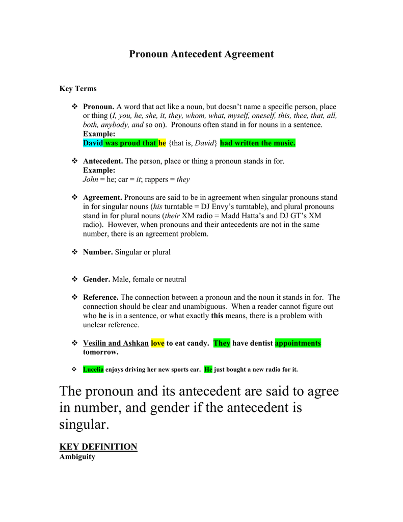 hight resolution of pronoun antecedent agreement - Cprc